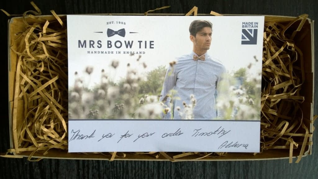 Mrs Bow Tie – thank you note