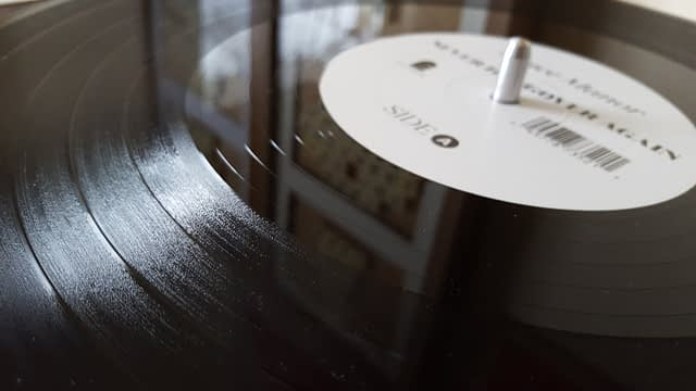 Vinyl record grooves up close