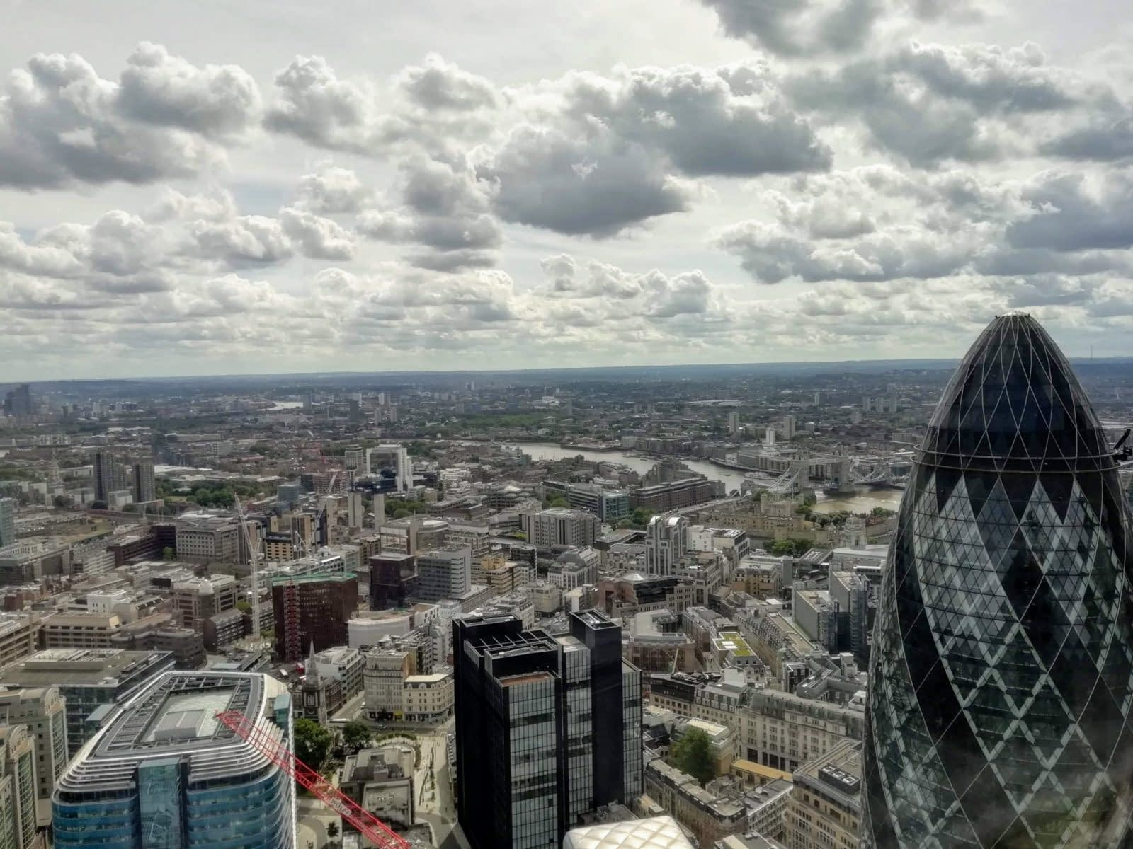 View from the top of Duck and Waffle, 110 Bishopsgate
