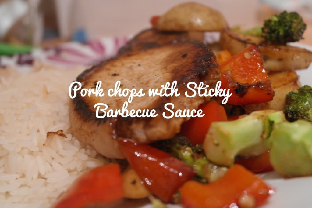 pork chop with sticky barbecue sauce, brocolli, peppers and potatoes front page