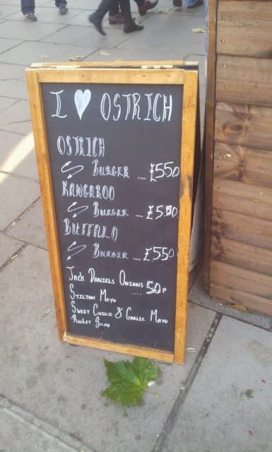 I love Ostrich at Christmas market at Southbank Centre, London
