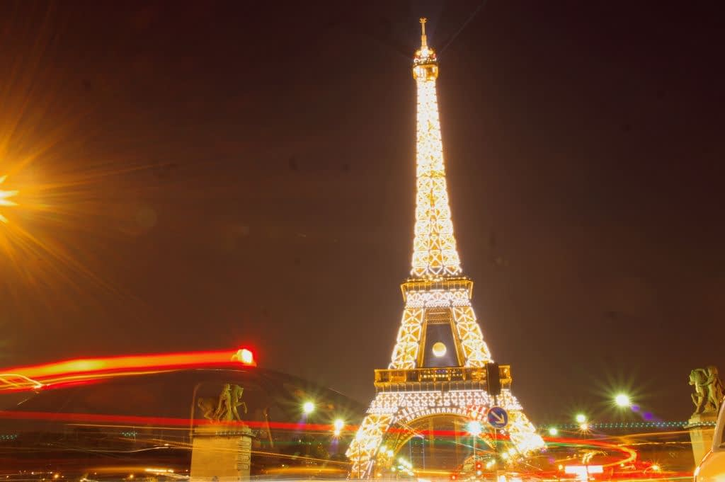 In front of Trocadero Gardens and the Eiffel Tower