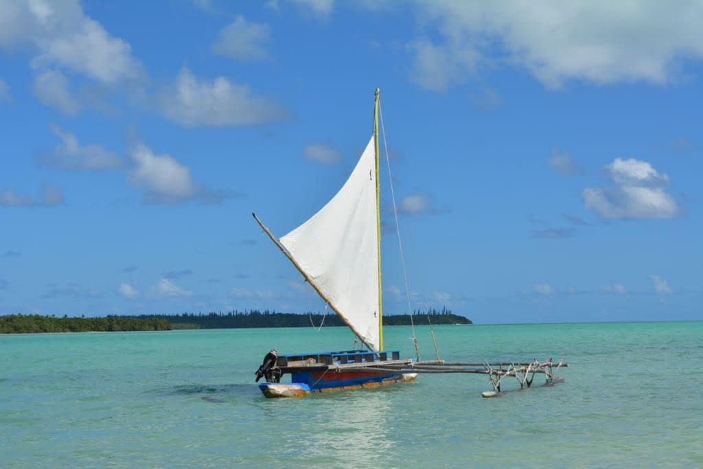 A traditional outrigger in St Joseph's Bay, Isle of Pines