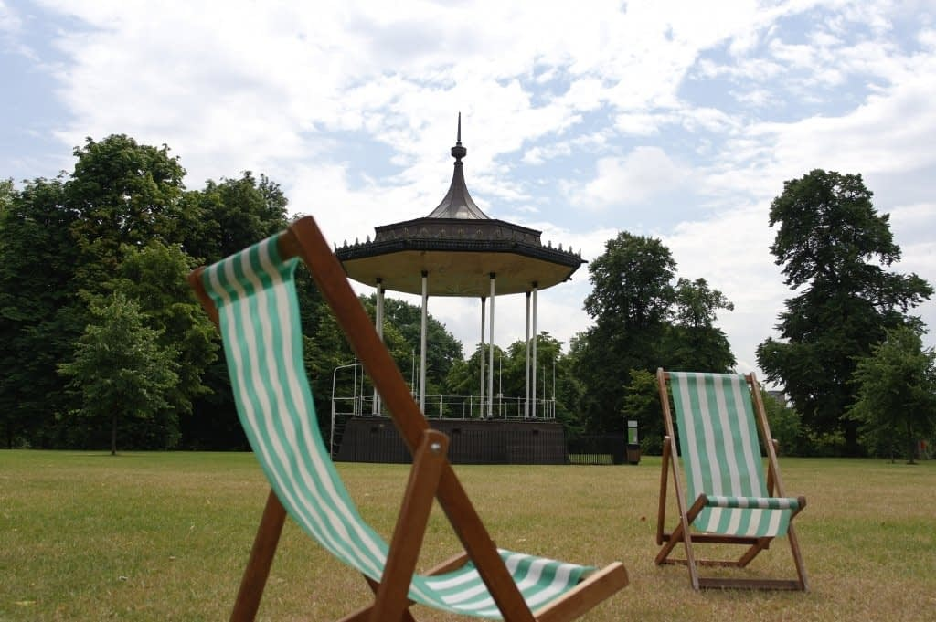 Deck chairs and Bandstand, Hyde Park